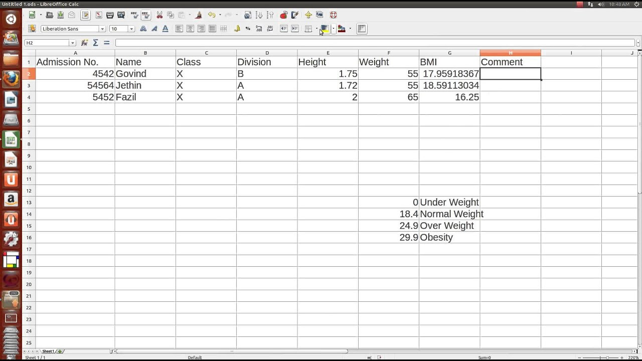 Govind S Ict Tutorial S 5 Calculating And Classifying Bmi In Spreadsheet