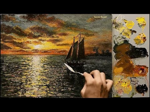 Sunset Seascape Oil Painting By Yasser Fayad