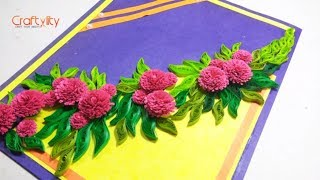 Paper Quilling Flower card for beginners | Quilling Flowers | DIY quilling card