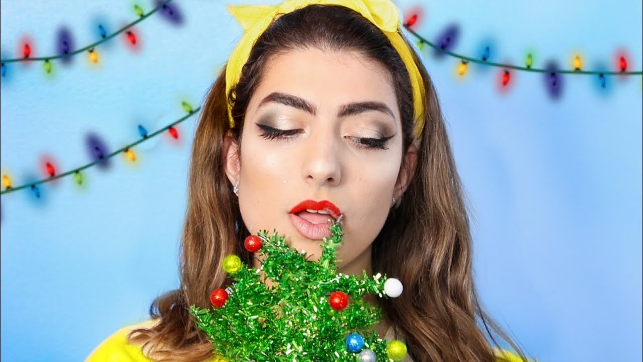 Christmas Facial.Full Face Of Makeup Using A Christmas Tree