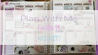 Plan With Me Erin Condren Feb 18th - 24th No Kit! Pastel Pink and Purple