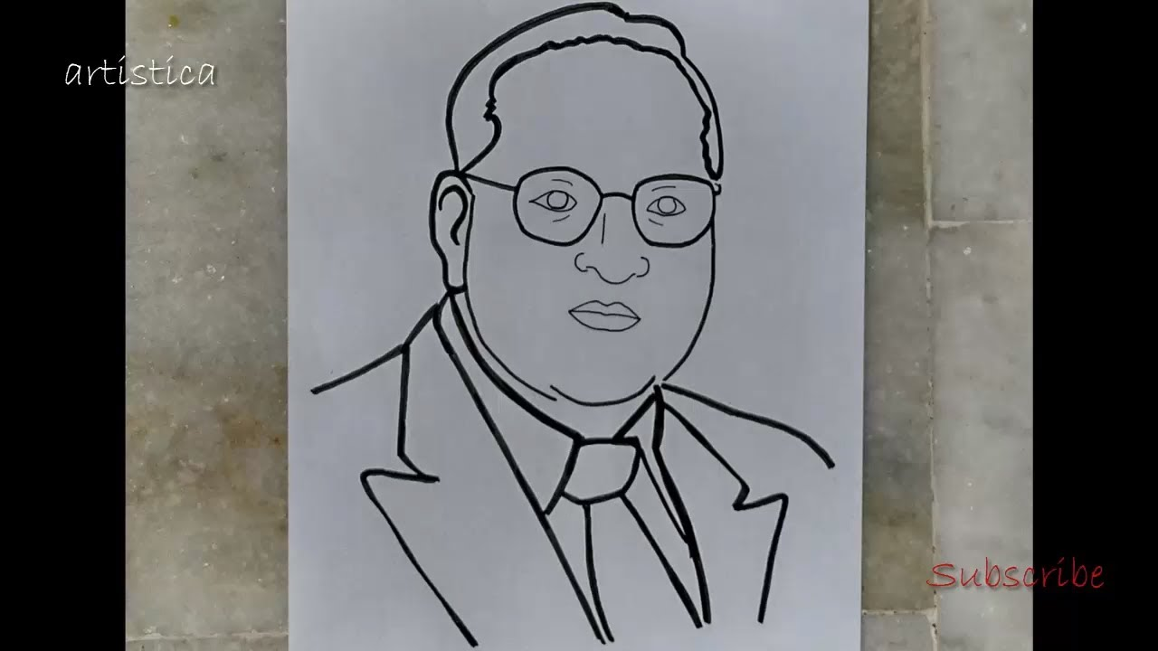 Download drawing of Dr B R Ambedkar for independence day | artistica