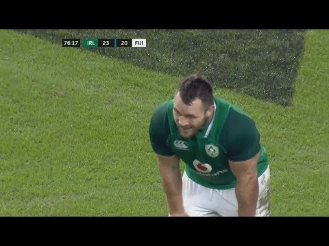 """Cian Healy scores epic """"try"""" after failing to hear refs whistle. [Ireland vs Fiji '17]"""