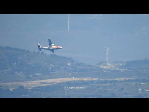 Turkish Coast Guard CN235-100M low flight over Cesme port in Chios Strait.