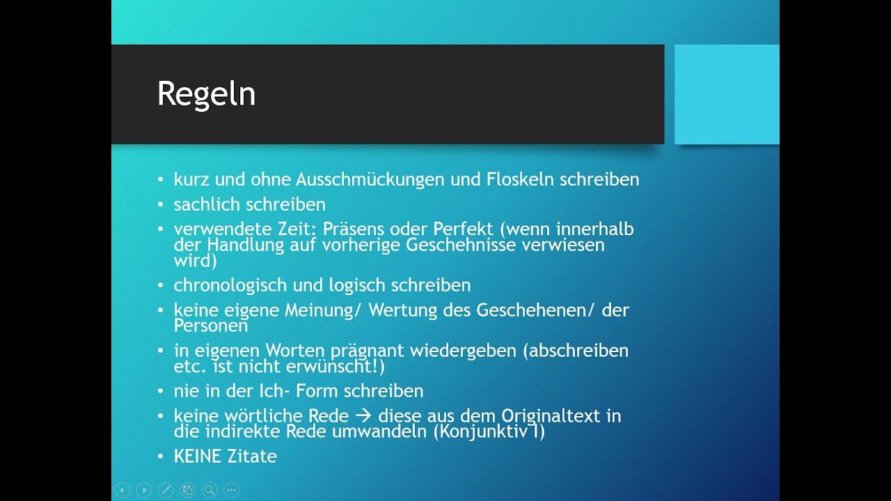 Wie Schreibe Ich Eine Inhaltsangabe Deutsch Youtube