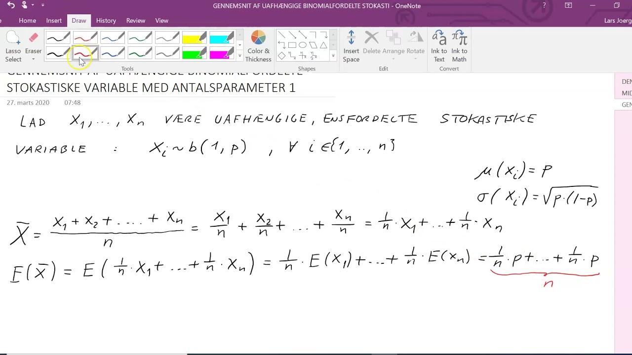 Gennemsnit af Bernoullifordelte variable