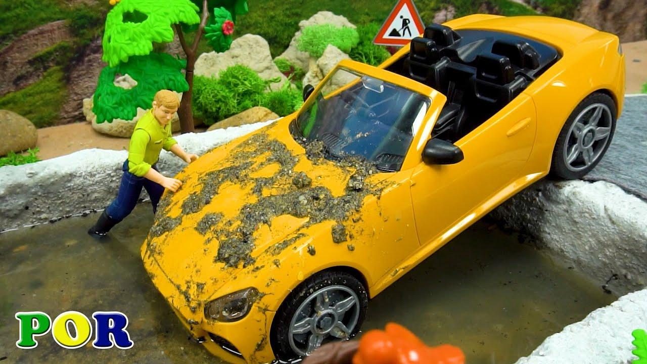 Escavadeira ajuda resgate Carros de brinquedos - Bibo em Português