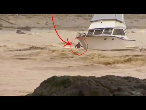 CRAZY CRAZY!! Two Guys Try to Save Boat in Rough Seas After Mooring Chain  Snaps!!