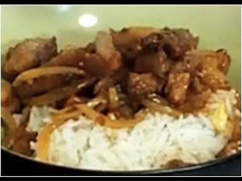 recette-de-wok-de-porc-au-caramel,-riz-basmati-à-l'ananas