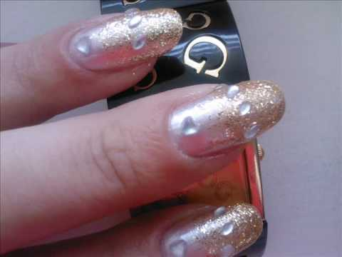 Silver And Gold Bling Nail Art Tutorial Youtube