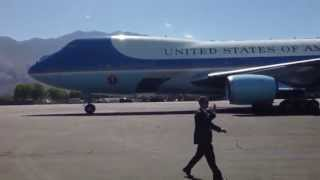 OBAMA VISIT: Air Force One arrives in Palm Springs