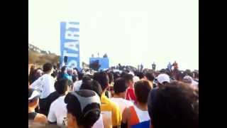 2011-01-23湘南国際マラソンスタート前の雰囲気 招待選手の紹介 ・安田...