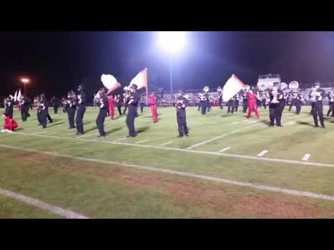 Goose Creek High School marching band performs at halftime.
