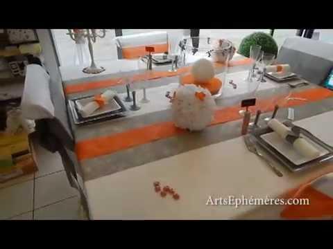 Table de mariage blanche argent et orange arts eph m res Deco de table orange