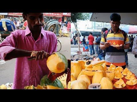 Natural Fresh & Healthy  fruits papaya @ Tk 20 per plate selling delicious tasty street food