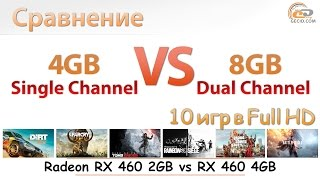 Сравнение 4 ГБ одно- и 8 ГБ двухканальной DDR4-2400 на Pentium G4560 с RX 460 2GB и RX 460 4GB