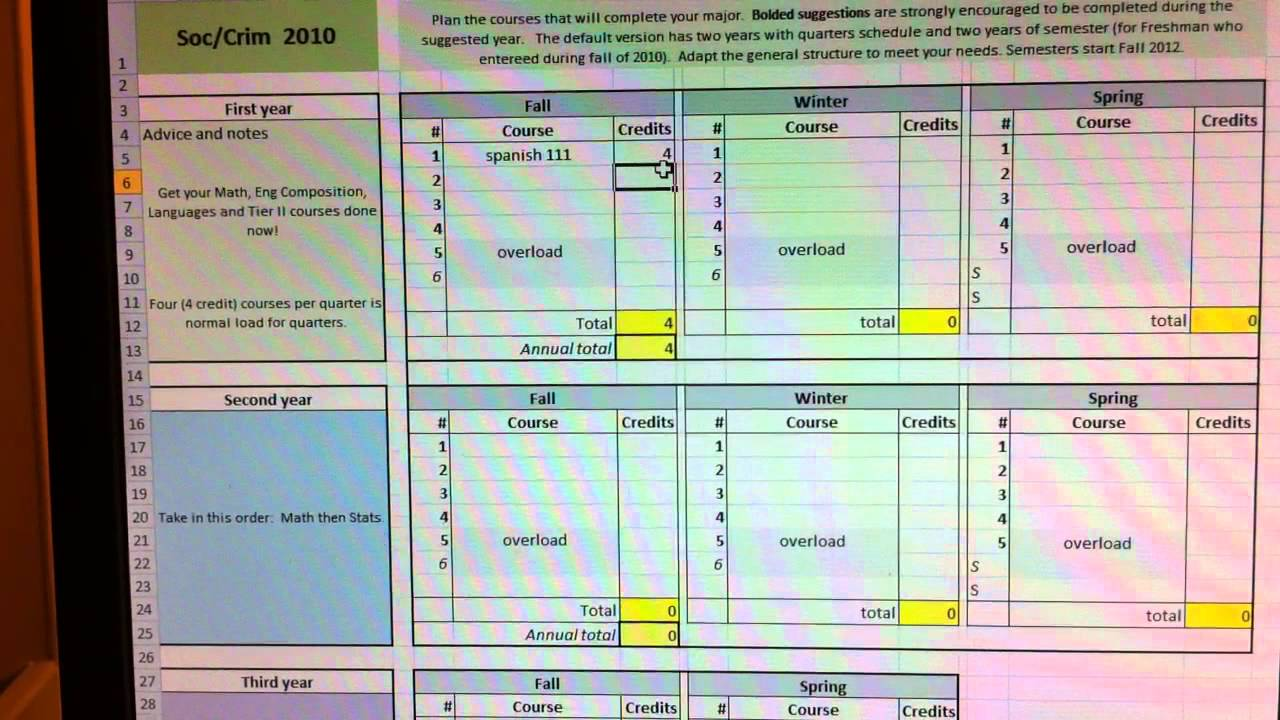 OU Soc Crim course planning template in Excel - YouTube