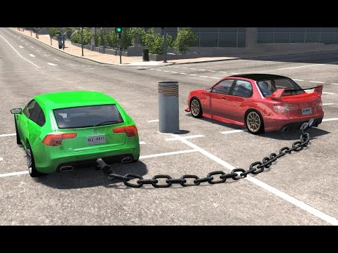 Chained Cars Crash Testing - BeamNG DRIVE - HD