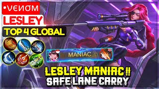 Lesley MANIAC !! Safe Lane Carry [ Top 4 Global Lesley ] •νєиσм - Mobile Legends