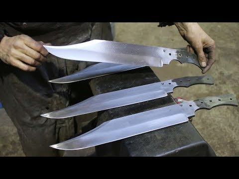 Forging 4 bowie knives form semi truck leaf spring steel