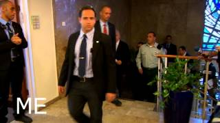 Israeli Prime Minister surrounded by bodyguards thumbnail