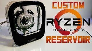 Custom water cooled reservoir in shape of AMD Ryzen Threadripper (box)