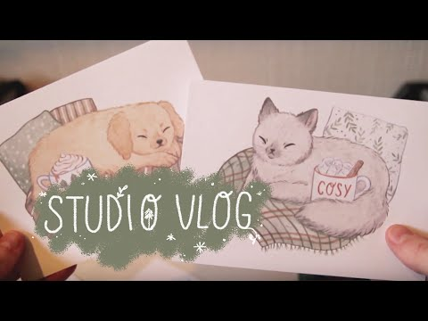 STUDIO VLOG - working on new prints, stickers and the snow arrived