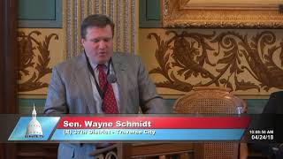 Sen. Schmidt welcomes the Boy Scouts to the Michigan Senate