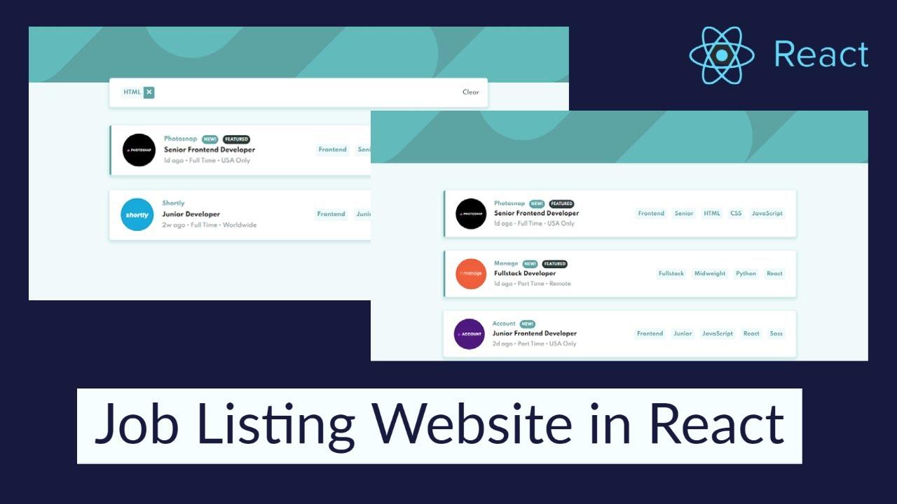 Build Job Listing Website in ReactJS
