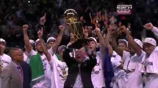 The San Antonio Spurs Receive the 2014 Championship Trophy