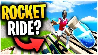 Can You ROCKET RIDE A SHIELD POTION In Fortnite Battle Royale? | Fortnite Mythbusters