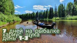 Рыбалка в Архангельской области Хариус щука Часть 1