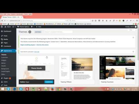 Installing Aqua Wordpress Theme