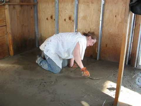 Off grid in texas adobe floor youtube for Adobe floor