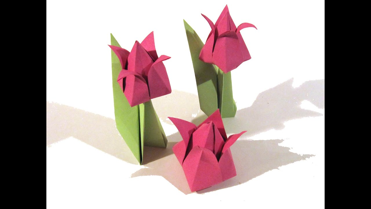 Valentines Day Origami Tulip Flower Very Easy Valentines Day