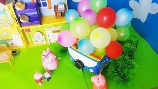 Bajka Świnka Peppa po polsku 2018 - Prank Samochód 100 balonów