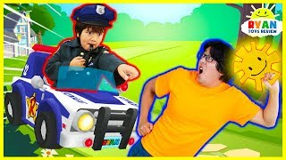 Tag with Ryan Game Challenge with New Police Car and Characters! Ryan vs Daddy and Mommy!