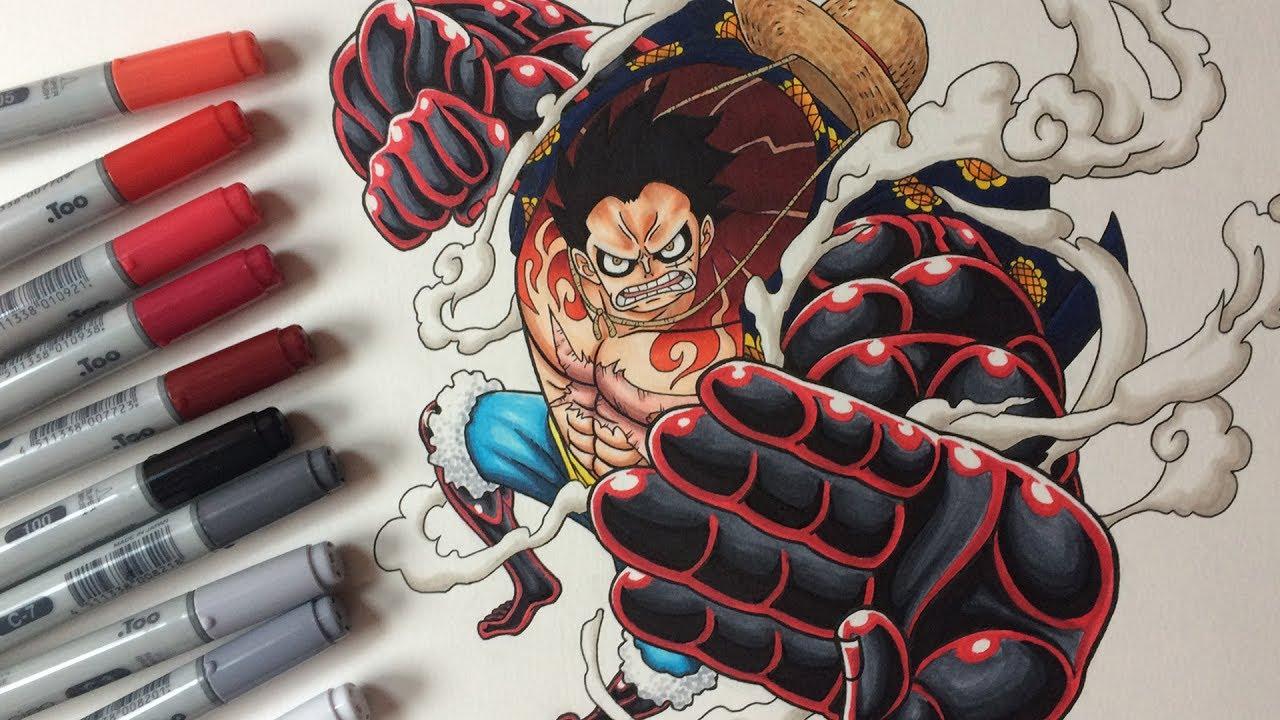 Luffy gear 4 vs drakon. Drawing Monkey D Luffy Gear 4 One Piece Youtube