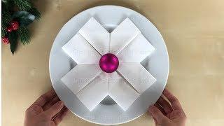 Servietten falten Weihnachten: Schneeflocken basteln mit Papier-Servietten - DIY Origami Deko