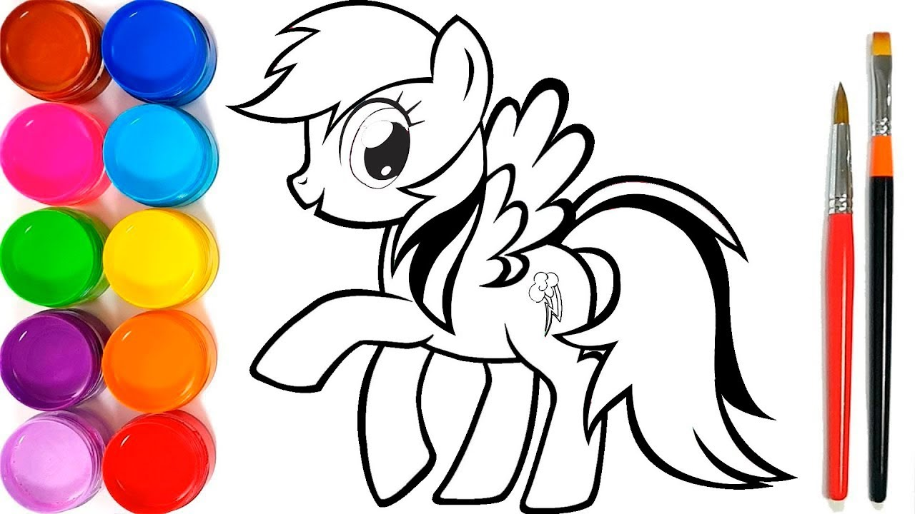 Glitter My Little Pony drawing and coloring book for Kids, Toddlers   Rainbow  Dash - YouTube