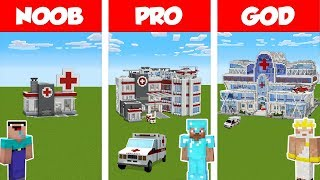 Minecraft: NOOB vs PRO vs GOD HOSPITAL BUILD CHALLENGE in Minecraft / Funny Animation