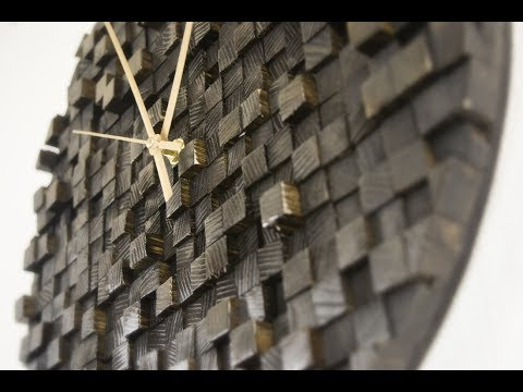 [011] Qubo - wooden wall clock made out of squares