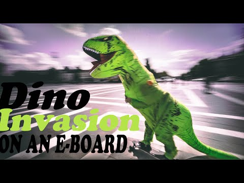 DINO INVASION ON ELECTRIC SKATEBOARD ON THE STREETS OF HUNGARY