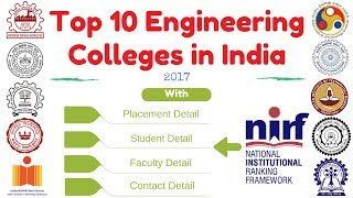 Top 10 engineering colleges in india 2017||Top IIT in india 2017