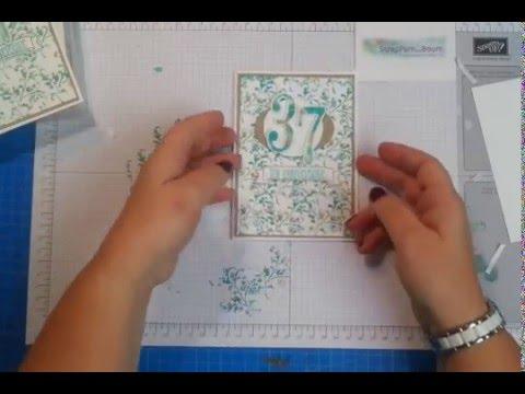 carte anniversaire avec technique des lingettes au fil des ans de stampin 39 up youtube. Black Bedroom Furniture Sets. Home Design Ideas