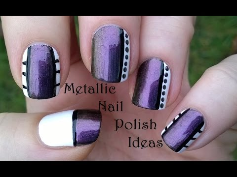 Three Easy METALLIC Nail Polish Designs - Purple & White Nails - YouTube - Three Easy METALLIC Nail Polish Designs - Purple & White Nails