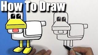 How To Draw a Cute Cartoon Minecraft Chicken - EASY Chibi - Step By Step - Kawaii