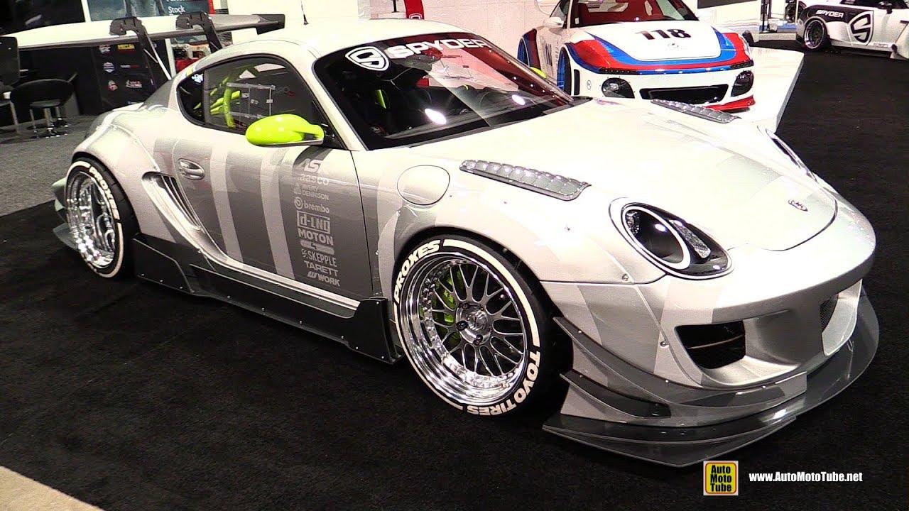2008 Porsche Cayman Racing Car with Spyder Lights , Walkaround , 2017 SEMA