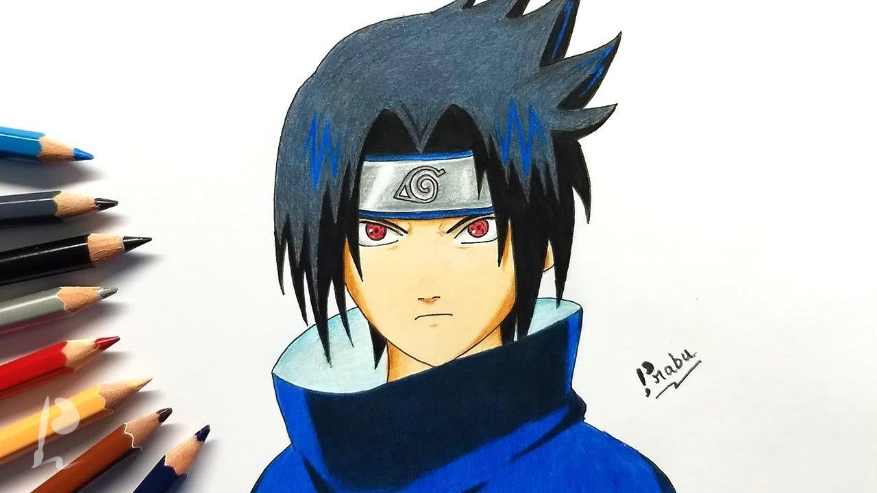Drawing Sasuke Uchiha Sharingan with Colour Pencils | Naruto