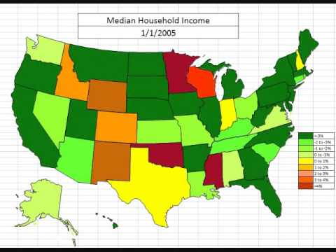 Median and Real Median Household Income Changes by State